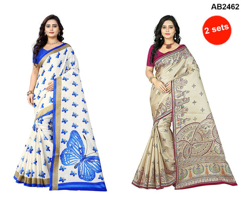 pink and Blue Color Khadi Silk Sarees - ks-rani-pink , ks-titli-blue