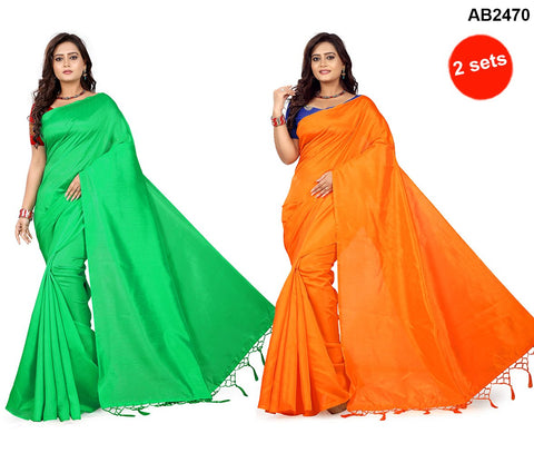 Blue and Red Color Silk Sarees - more-orange-blue , more-green-red