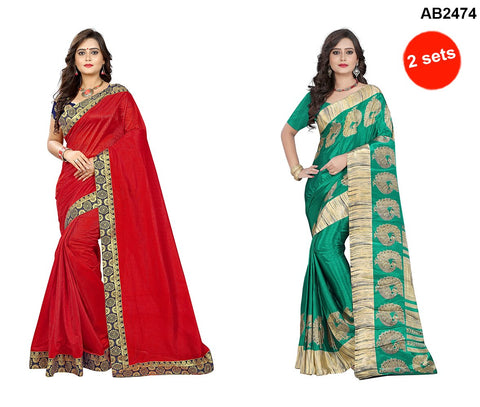 Light Green and Red Color Crepe and Lycra Sarees - peacock-crepe-light-green , tam-tam-red