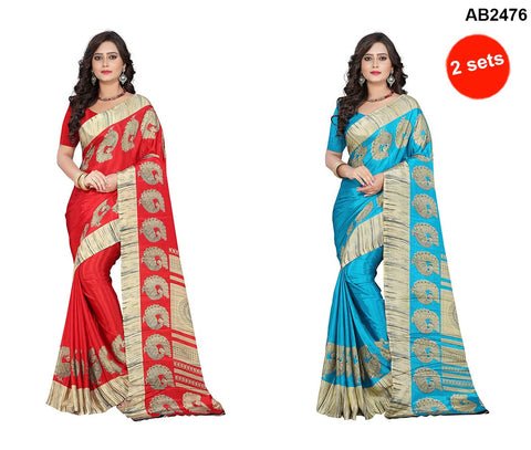 Sky Blue and Red Color Crepe Sarees - peacock-crepe-sky-blue , peacock-crepe-red