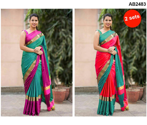 COMBOS-Cotton Silk Sarees - SRP-15RedGreen , SRP-13TurquoiseGreen