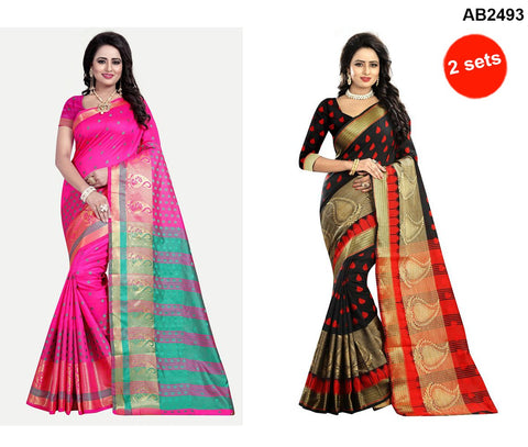 COMBOS-Polly Cotton Sarees - RAGINI400-PINK , RAGINI500-BLACK