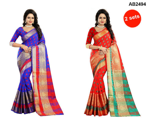 COMBOS-Polly Cotton Sarees - RAGINI500-BLUE , RAGINI500-RED