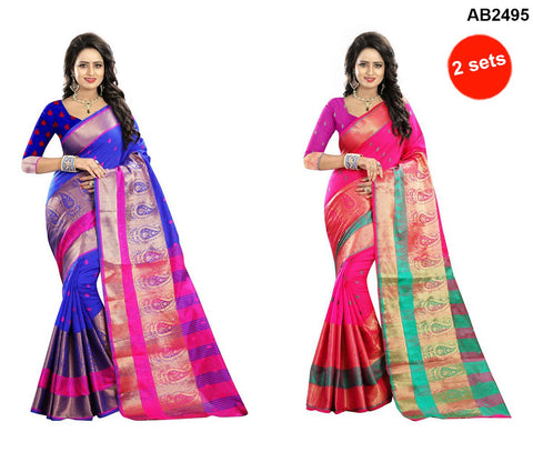 COMBOS-Polly Cotton Sarees - RAGINI600-BLUE , RAGINI600-PINK