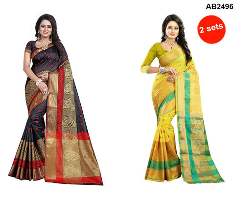 COMBOS-Polly Cotton Sarees - RAGINI600-YELLOW , RAGINI700-BLACK