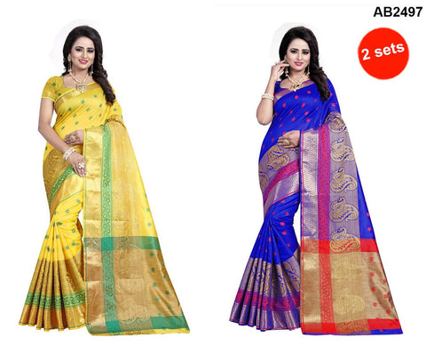 COMBOS-Polly Cotton Sarees - RAGINI700-YELLOW , RAGINI700-BLUE