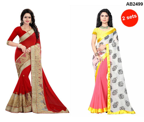 COMBOS-Georgette Sarees - RED-DIPIKA , ST-FLOWER