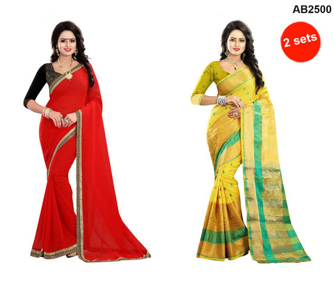 COMBOS-Polly Cotton and Georgette Sarees - SOFFY-RED , RAGINI600-YELLOW