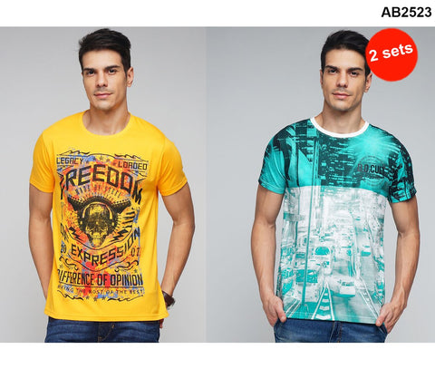 COMBOS-Green and Yellow Color Cotton Men T-Shirts - MYNGPCR017005GRN , MYNGPCR017004YLW