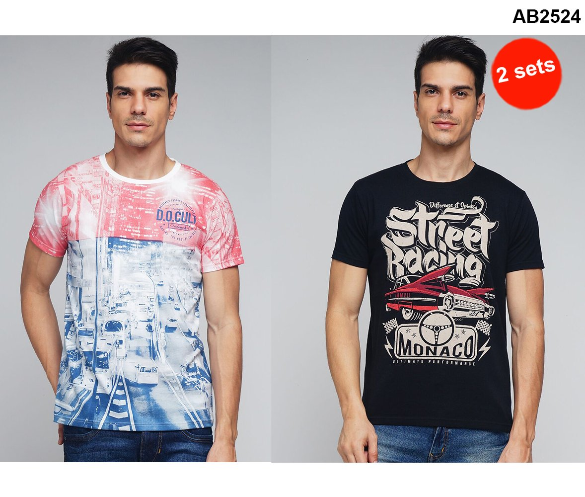 6777fa7b20860 Buy Red and Black Color Cotton Men T-Shirts. DIFFERENCE OF OPINION