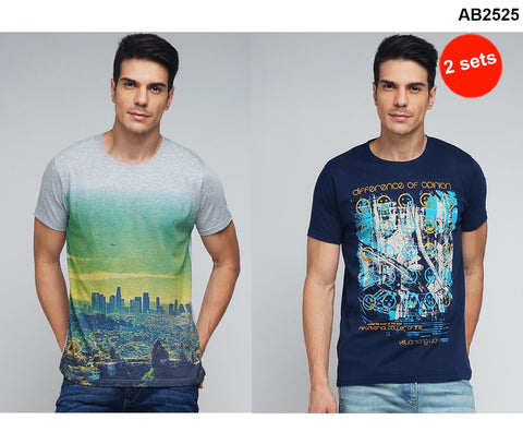 COMBOS-Navy and Grey Color Cotton Men T-Shirts - MYNGPCR017010NVY , MYNGPCR017009GML