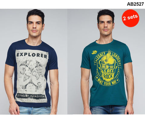 COMBOS-Green and Navy Color Cotton Men T-Shirts - MYNGPCR017015GRN , MYNGPCR017013NVY
