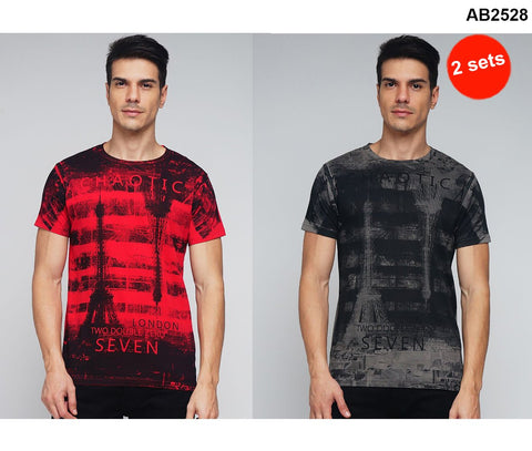 COMBOS-Black and Red Color Cotton Men T-Shirts - MYNGPCR017016BLK , MYNGPCR017016RED