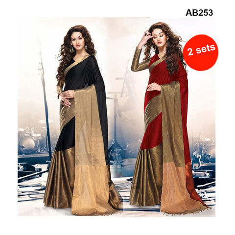 COMBOS-Women's Beautiful Cotton Silk Saree With Blouse - SRP-AK-BLACK , SRP-AK-RED