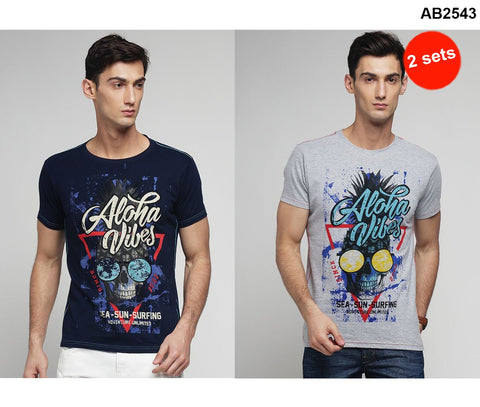 COMBOS-Grey and Navy Color Cotton Men T-Shirts - MYNGPCR017031GML , MYNGPCR017031NVY