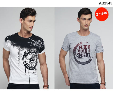 COMBOS-Grey and White Color Cotton Men T-Shirts - MYNGPCR017022GML , MYNGPCR017029WHT