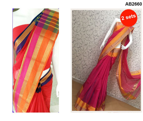 COMBOS-Cotton Sarees - doriya-4 , doriya-orange