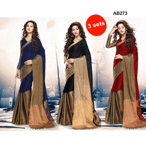 COMBOS-Women's Beautiful Cotton Silk Saree With Blouse - SRP-AK-BLUE , SRP-AK-RED , SRP-AK-BLACK