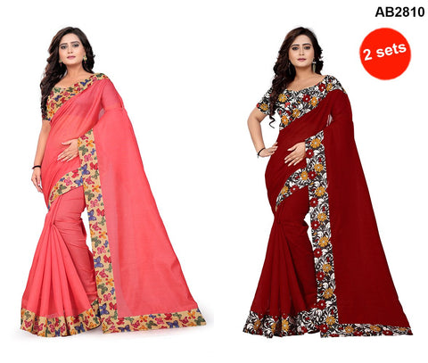 COMBOS- Bhagalpuri Sarees - Flower-Red , Butterfly-Peach