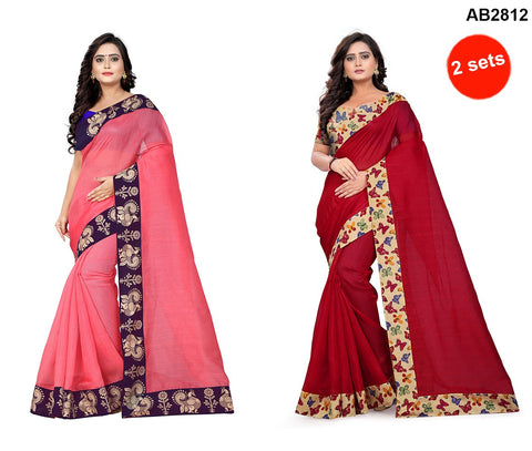 COMBOS- Bhagalpuri And Chanderi Sarees - Butterfly-Red , Peacock-Peach