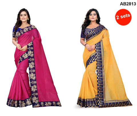 COMBOS- Bhagalpuri And Chanderi Sarees - Peacock-Pink , Polka-Dots