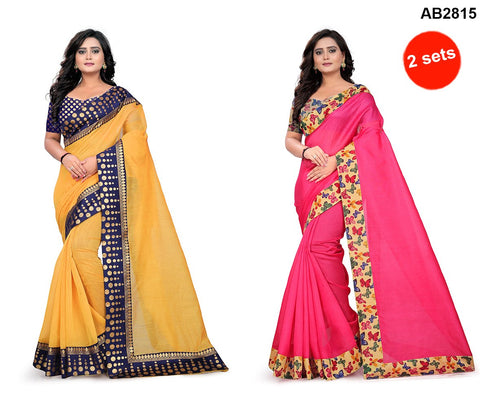 COMBOS- Bhagalpuri And Chanderi Sarees - Butterfly-Pink , Polka-Dots