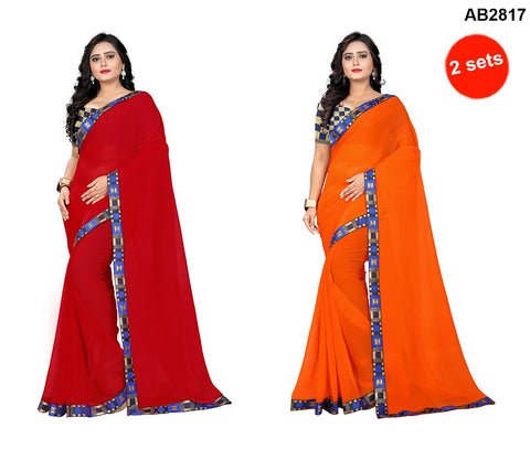 COMBOS- Marbal Sarees - Square-Orange , Square-Red