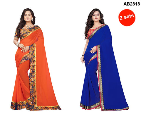 COMBOS- Marbal And Faux Georgette Sarees - Diamond-Blue , Marbel-Orange