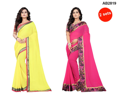 COMBOS- Faux Georgette And Marbal Sarees - Marbel-Pink , Diamond-Yellow