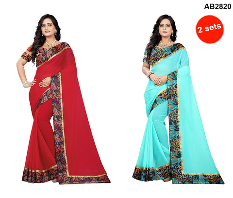 COMBOS- Faux Georgette Sarees - Marbel-Seagreen , Marbel-Red