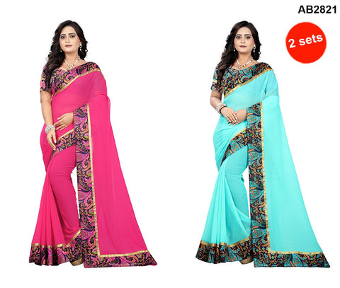 COMBOS- Faux Georgette Sarees - Marbel-Seagreen , Marbel-Pink