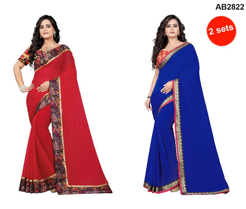 COMBOS- Marbal And Faux Georgette Sarees - Diamond-Blue , Marbel-Red