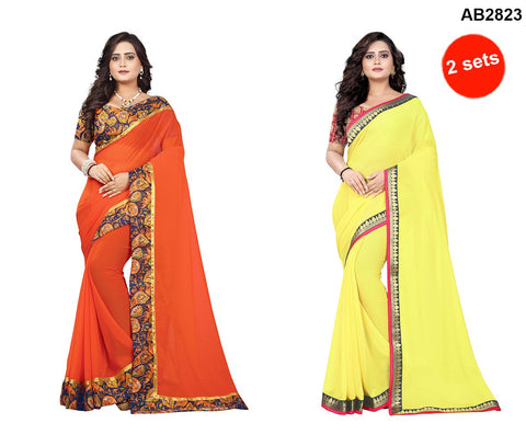 COMBOS- Marbal And Faux Georgette Sarees - Diamond-Yellow , Marbel-Orange