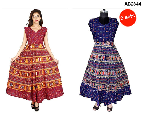 COMBOS-Multi Color Cotton Stitched Dress - JFDL2108404 , JFDL2108504