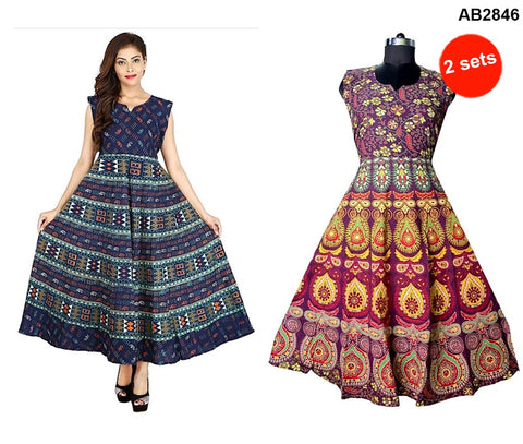 COMBOS-Multi Color Cotton Stitched Dress - JFDL2108201 , JFDL2108505