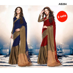 COMBOS-Women's Beautiful Cotton Silk Saree With Blouse - SRP-AK-BLUE , SRP-AK-RED