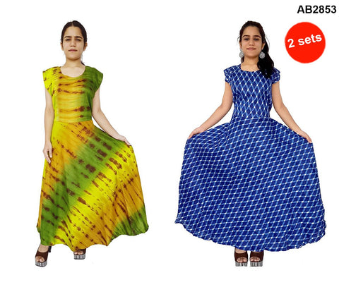 COMBOS-Multi Color Rayon Stitched Dress - JFDR2204101 , JFDR2212404