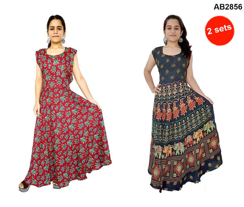 COMBOS-Multi Color Rayon Stitched Dress - JFDR2212401 , JFDR2204108