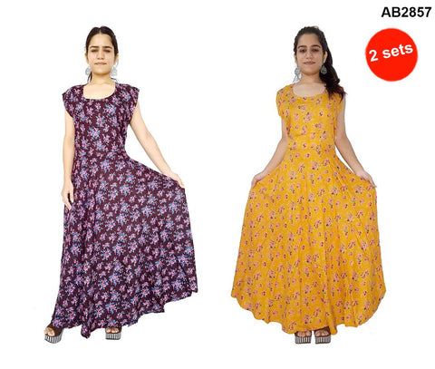 COMBOS-Multi Color Rayon Stitched Dress - JFDR2204109 , JFDR2212400