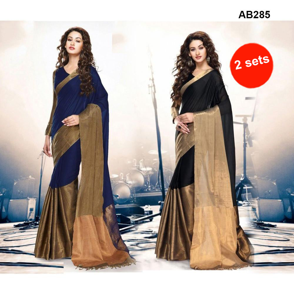COMBOS-Women's Beautiful Cotton Silk Saree With Blouse - SRP-AK-BLUE , SRP-AK-BLACK