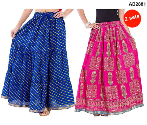 Buy COMBOS-Multi Color Cotton Stitched Skirts - JSKT2106904 , JSKT2212104