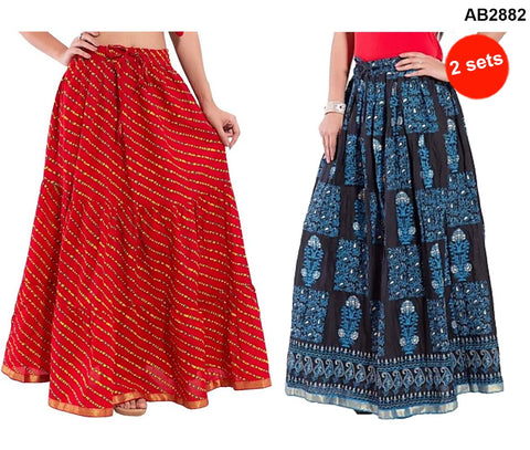 Buy COMBOS-Multi Color Cotton Stitched Skirts - JSKT2106905 , JSKT2212106