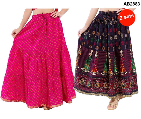 Buy COMBOS-Multi Color Cotton Stitched Skirts - JSKT2106907 , JSKT2212105