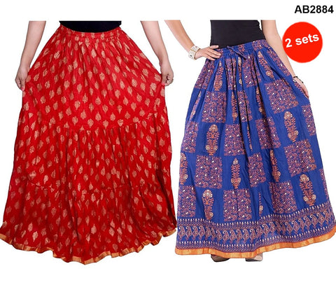 Buy COMBOS-Multi Color Cotton Stitched Skirts - JSKT2106908 , JSKT2212101