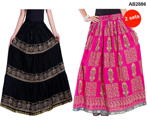 Buy COMBOS-Multi Color Cotton Stitched Skirts - JSKT2212001 , JSKT2106904