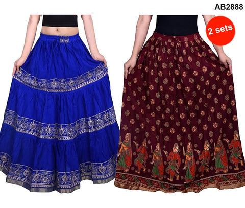 Buy COMBOS-Multi Color Cotton Stitched Skirts - JSKT2116005 , JSKT2202909