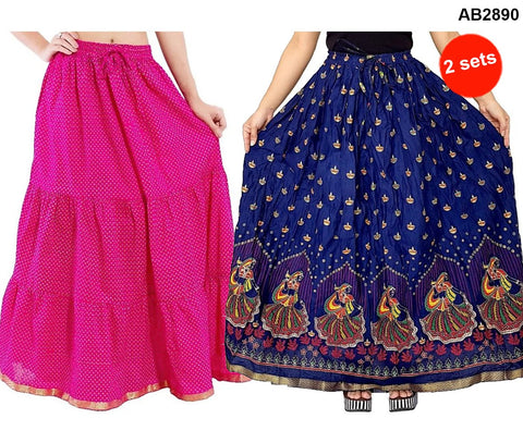 Buy COMBOS-Multi Color Cotton Stitched Skirts - JSKT2116105 , JSKT2116205