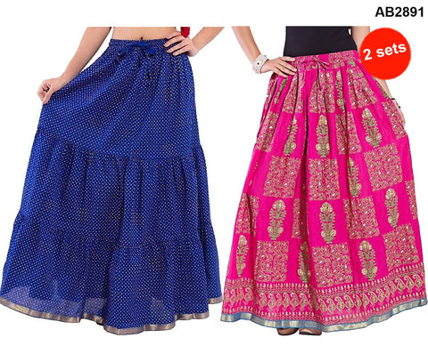 Buy COMBOS-Multi Color Cotton Stitched Skirts - JSKT2116204 , JSKT2106904