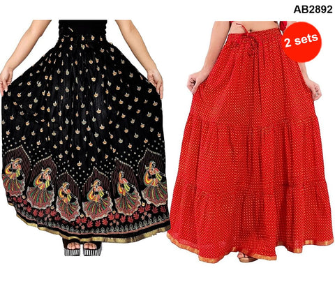 Buy COMBOS-Multi Color Cotton Stitched Skirts - JSKT2116106, JSKT2116203