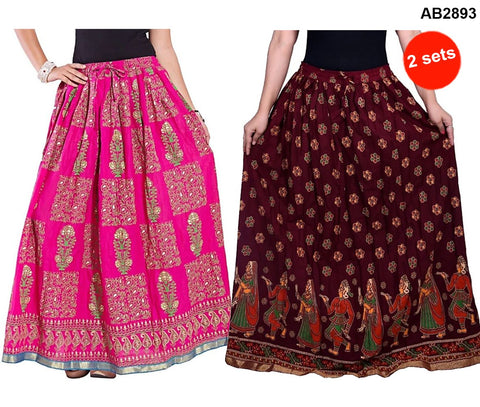 Buy COMBOS-Multi Color Cotton Stitched Skirts - JSKT2116005 , JSKT2106904